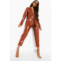 Womens Leather Look Mock Croc Belted Trouser - Brown - 10, Brown