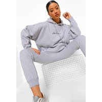 Womens Oversized Woman Embroidered Hooded Tracksuit - Grey - Xl, Grey