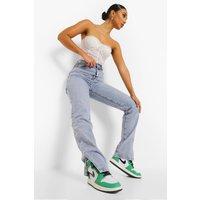 Womens Split Hem Jeans - Blue - M, Blue