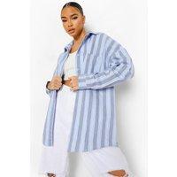 Womens Striped Oversized Shirt - Blue - 6, Blue