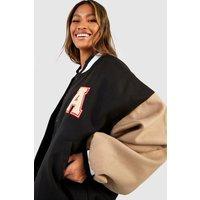 Womens Patch Letter Oversized Varsity Jacket - Black - 8, Bl