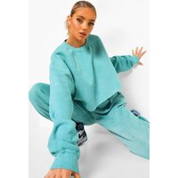 Womens Acid Washed Cropped Sweatshirt - Green - M, Green