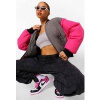 Womens Oversized Colourblock Padded Bomber Jacket - Pink - 16, Pink