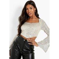 Womens Sequin Split Sleeve Square Long Sleeve Top - Metallics - 12, Metallics