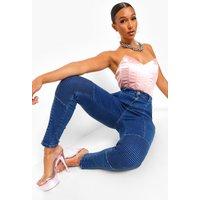 Womens Denim Biker Jeans - Blue - 6, Blue