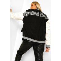 Womens Limited Edition Varsity Bomber Jacket - Black - 16, B