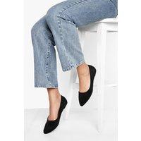 Womens Wide Fit Pointed Toe Ballet Pumps - Black - 6, Black