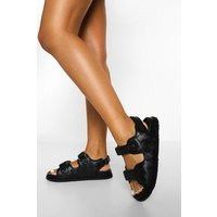 Womens Woven Double Strap Sporty Dad Sandal - Black - 4, Black