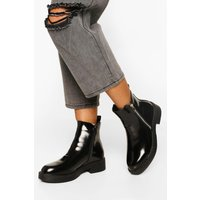 Womens Patent Zip Detail Chunky Chelsea Boots - Black - 6, Black