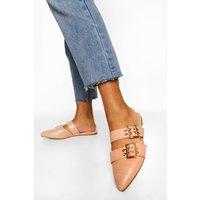 Womens Double Buckle Detail Croc Loafers - Beige - 4, Beige