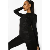 Womens Camo Long Sleeve Active Top - Black - 10, Black