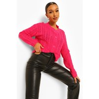 Womens Cable Knit Cropped Cardigan - Pink - L, Pink
