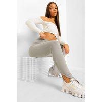 Womens Split Hem Wide Ribbed Leggings - Grey - 12, Grey