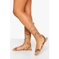 Womens Leather Wrap Up Strappy Sandals - Multi - 5, Multi