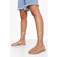 Womens Strappy Wrap Up Sandal - Metallics - 8, Metallics