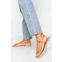 Womens Leather Skinny Strap Sandals - Orange - 4, Orange