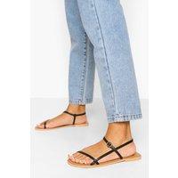 Womens Wide Fit Leather Skinny Strap Sandals - Black - 4, Black