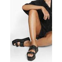 Womens Woven Double Strap Flatform - Black - 5, Black