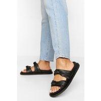 Womens Wide Fit Leather Knot Detail Footbed Sandal - Black - 5, Black