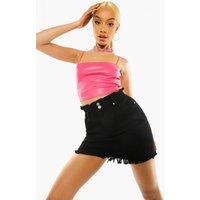Womens Paper Bag Fray Hem Denim Skirt - Black - 8, Black