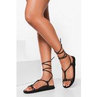 Womens Wide Fit Leather Knot Detail Wrap Strap Espad - Black - 7, Black