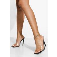Womens Wide Fit Clear Square Toe Mule - Black - 3, Black
