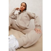 Womens Woman Embroidered Hooded Tracksuit - Beige - S, Beige