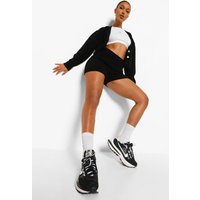 Womens Crop Cardigan And Shorts Co-Ord - Black - M, Black