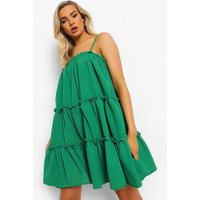 Womens Strappy Ruffle Tiered Smock Dress - Green - 14, Green