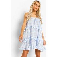 Womens Check Print Tiered Swing Dress - Blue - 12, Blue