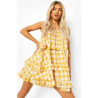 Womens Check Print Tiered Swing Dress - Yellow - 16, Yellow