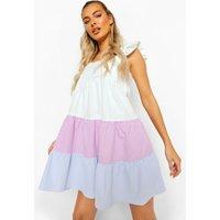 Womens Colour Block Tiered Smock Dress - Purple - 18, Purple