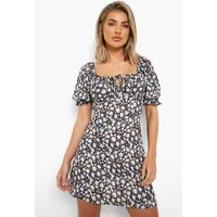 Womens Ditsy Floral Cup Detail Swing Dress - Black - 14, Black
