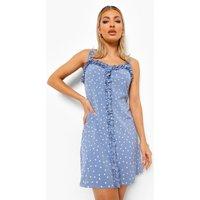 Womens Polka Dot Ruffle Swing Dress - Blue - 14, Blue