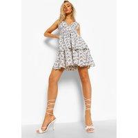 Womens Strappy Ruffle Swing Dress - White - 12, White
