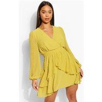 Womens Ruffle Hem Dobby Chiffon Mini Dress - Yellow - 12, Yellow