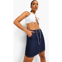 Womens Paperbag Denim Skirt - Blue - 8, Blue