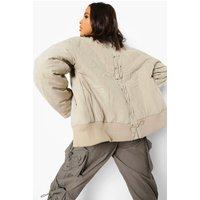 Womens Lace Up Detail Oversized Bomber Jacket - Grey - 10, G