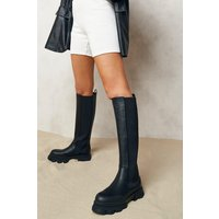Womens Chunky Cleated Sole Knee High Chelsea Boots - Black - 7, Black