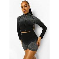 Womens Ombre Seamfree Funnel Neck Jacket - Black - M, Black