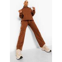 Womens Straight Leg Hoodie Tracksuit - Brown - S, Brown