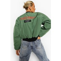 Womens Crop Printed Oversized Bomber Jacket - Green - 16,