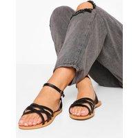 Womens Wide Fit Multi Strap Basic Sandal - Black - 3, Black