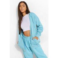 Womens Basic Oversized Zip Through Hoodie - Blue - S, Blue