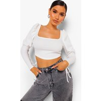 Womens Square Neck Lace Up Puff Sleeve Top - White - 16, White