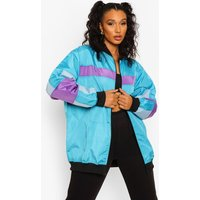Womens Lilac Panelled Bomber Jacket - Blue - 8, Blue