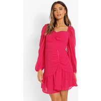 Womens Dobby Mesh Long Sleeve Ruched Skater Dress - Pink - 12, Pink