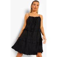 Womens Strappy Tiered Cotton Mini Dress - Black - 14, Black