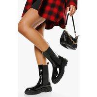 Womens Patent Calf High Chunky Sole Chelsea Boot - Black - 3, Black