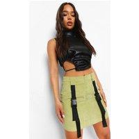 Womens Cord Buckle Detail Utility Mini Skirt - Green - 12, Green